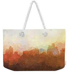 Weekender Tote Bag featuring the digital art Reno Nevada Skyline by Marlene Watson