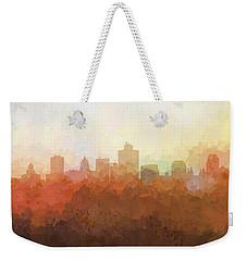 Weekender Tote Bag featuring the digital art Salt Lake City Utah Skyline by Marlene Watson