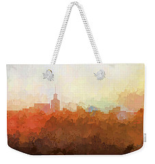 Weekender Tote Bag featuring the digital art Santa Fe New Mexico Skyline by Marlene Watson