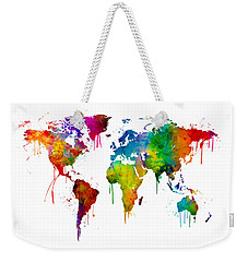 Watercolor Map Of The World Map Weekender Tote Bag by Michael Tompsett