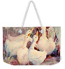 5 White Geese Weekender Tote Bag