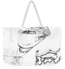 5.1.japan-map-of-country-with-bullet-train Weekender Tote Bag