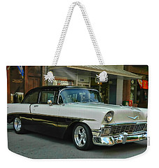 Weekender Tote Bag featuring the photograph '56 Chevy Hot Rod by Victor Montgomery