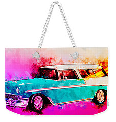 56 Chevy Nomad By The Sea In The Morning With Vivachas Weekender Tote Bag