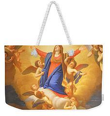 Weekender Tote Bag featuring the painting Angels by Munir Alawi