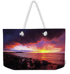 Weekender Tote Bag featuring the photograph Antelope Island Sunset by Norman Hall