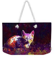 Weekender Tote Bag featuring the digital art Cat Eye Injury One Eye Village  by PixBreak Art