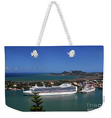 Weekender Tote Bag featuring the photograph Cruise Ship In Port by Gary Wonning