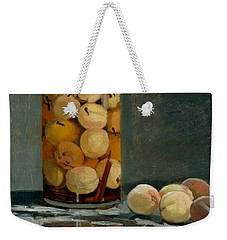 Jar Of Peaches Weekender Tote Bag by Claude Monet