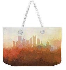 Weekender Tote Bag featuring the digital art Pittsburgh Pennsylvania Skyline by Marlene Watson