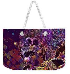 Weekender Tote Bag featuring the digital art Raccoon Wild Animal Furry Mammal  by PixBreak Art