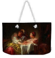 Weekender Tote Bag featuring the painting The Stolen Kiss by Jean-Honore Fragonard
