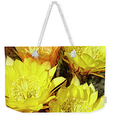 Yellow Cactus Flowers Weekender Tote Bag by Jim And Emily Bush