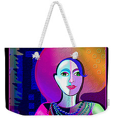 646 - Elegant Lady Pink And Blue 2017 Weekender Tote Bag by Irmgard Schoendorf Welch