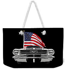 66 Mustang With U.s. Flag On Black Weekender Tote Bag