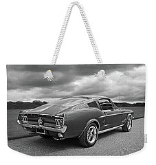 67 Fastback Mustang In Black And White Weekender Tote Bag by Gill Billington