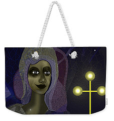 Weekender Tote Bag featuring the digital art 673 - Young Lady With Cross by Irmgard Schoendorf Welch