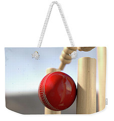 Cricket Ball Hitting Wickets Weekender Tote Bag
