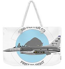 Weekender Tote Bag featuring the digital art Lockheed Martin F-16c Viper by Arthur Eggers