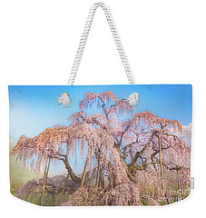 Weekender Tote Bag featuring the photograph Miharu Takizakura Weeping Cherry29 by Tatsuya Atarashi