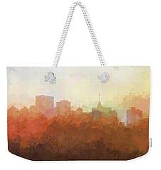 Weekender Tote Bag featuring the digital art Oakland California Skyline by Marlene Watson