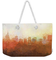 Weekender Tote Bag featuring the digital art Orlando Florida Skyline by Marlene Watson