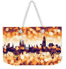 Barcelona Spain Skyline Weekender Tote Bag by Michael Tompsett