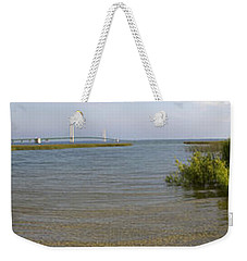 Weekender Tote Bag featuring the photograph Mackinac Bridge by Tara Lynn