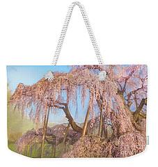 Weekender Tote Bag featuring the photograph Miharu Takizakura Weeping Cherry08 by Tatsuya Atarashi