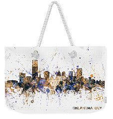 Weekender Tote Bag featuring the digital art Oklahoma City Skyline by Michael Tompsett