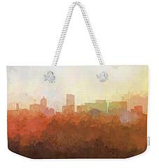 Weekender Tote Bag featuring the digital art Portland Oregon Skyline by Marlene Watson