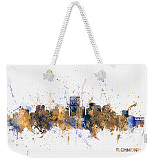 Weekender Tote Bag featuring the digital art Richmond Virginia Skyline by Michael Tompsett