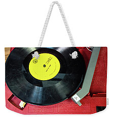 Weekender Tote Bag featuring the photograph 8 Rpm Record Player by Gary Slawsky