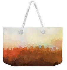 Weekender Tote Bag featuring the digital art San Diego California Skyline by Marlene Watson