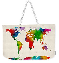 Weekender Tote Bag featuring the digital art Watercolor Map Of The World Map by Michael Tompsett