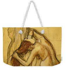 Woman Drying Herself Weekender Tote Bag