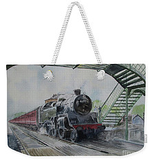 Weekender Tote Bag featuring the painting 80072 At North Weald by Martin Howard