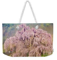 Weekender Tote Bag featuring the photograph Miharu Takizakura Weeping Cherry09 by Tatsuya Atarashi
