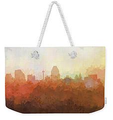 Weekender Tote Bag featuring the digital art San Antonio Texas Skyline by Marlene Watson