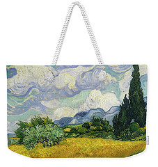 Weekender Tote Bag featuring the painting Wheat Field With Cypresses by Vincent van Gogh