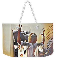 9906s-dm Woman Confronts Herself In Mirror Weekender Tote Bag