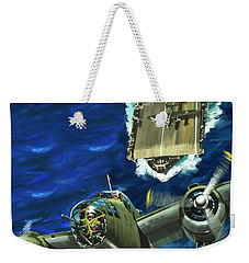 A B52 Bomber Takes Off From An Aircraft Carrier Headed For Japan In World War II Weekender Tote Bag by Wilf Hardy