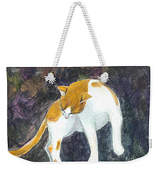Weekender Tote Bag featuring the painting A Bathing Cat by Jingfen Hwu
