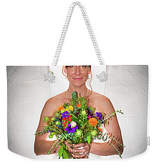 A Beautiful Backlit Bride And Her Bouquet Weekender Tote Bag