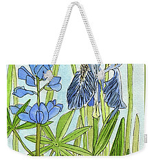 Weekender Tote Bag featuring the painting A Blue Garden by Laurie Rohner
