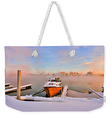 Boat On Frozen Lake Weekender Tote Bag by Rose-Maries Pictures