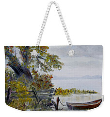 Weekender Tote Bag featuring the painting A Boat Waiting by Marilyn  McNish
