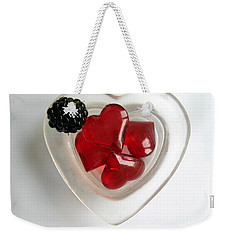 Weekender Tote Bag featuring the photograph A Bowl Of Hearts And A Blackberry by Ausra Huntington nee Paulauskaite