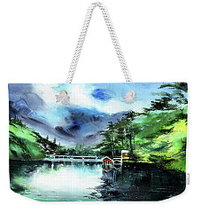 Weekender Tote Bag featuring the painting A Bridge Not Too Far by Anil Nene