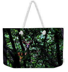 Weekender Tote Bag featuring the photograph A Buck Peers From The Woods by Bruce Patrick Smith